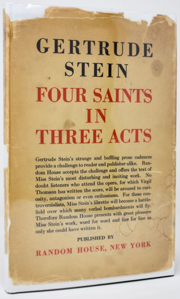 Four Saints in Three Acts. An Opera to be Sung [Signed by Stein]. Gertrude Stein.