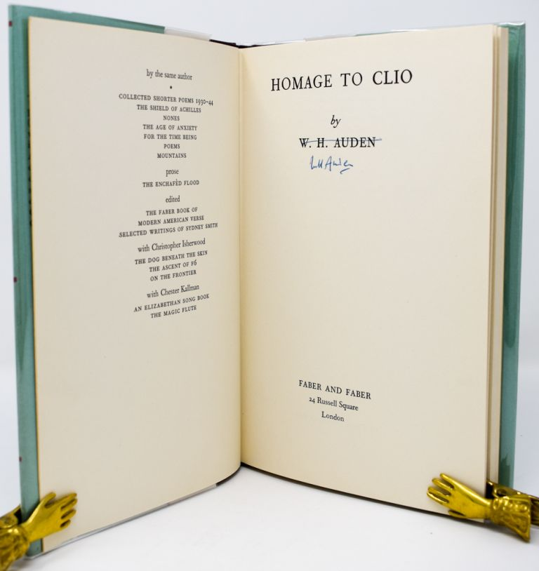 Homage to Clio [Signed]. W. H. Auden.